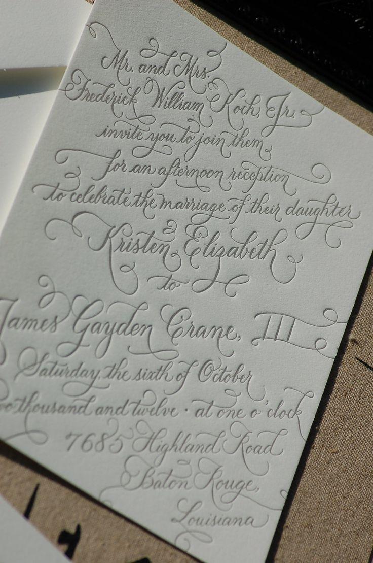 Custom Calligraphy Letterpress Wedding Invitations  DEPOSIT. $100.00, via Etsy.