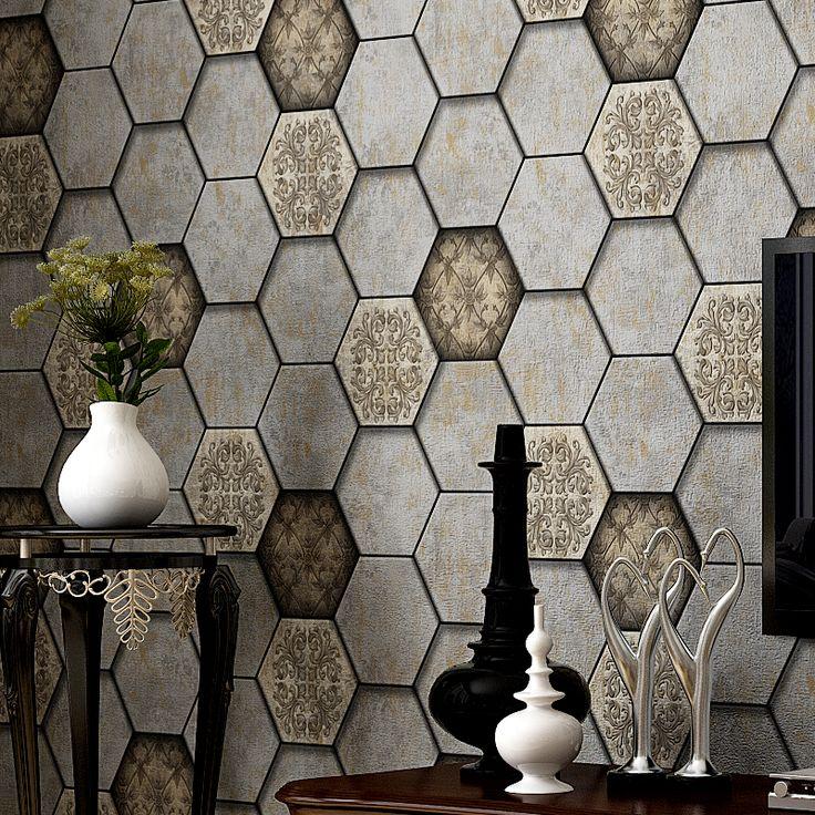 Vintage Geometric Wallpaper PVC Diamond Pattern Wall Paper For Living Room Bedroom Background Wall Decor Papel Tapiz De Pared 3D #Affiliate