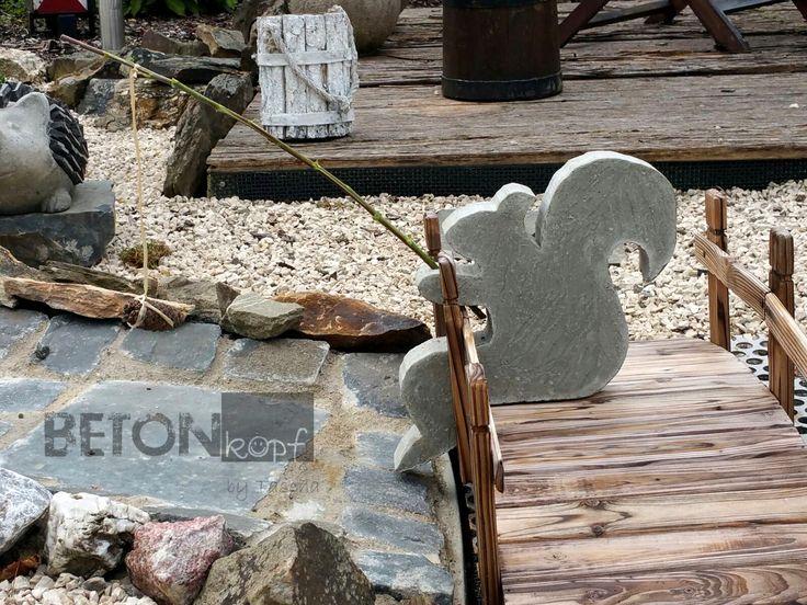 DIY Betonobjekt Betondeko Eichhörnchen Gartendeko gardening concrete crafts squirrel