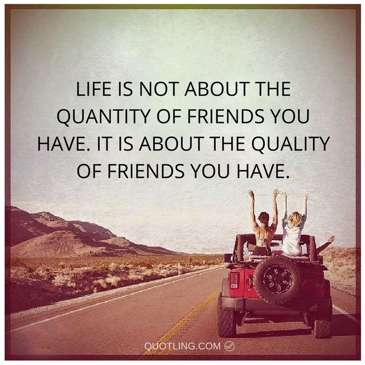 Life is not about the quantity of friends you have. It is about the quality of friends you have.