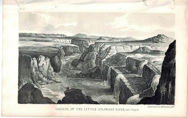 Cascade of the Little Colorado River near Camp 13 1853 Indian Litho Print