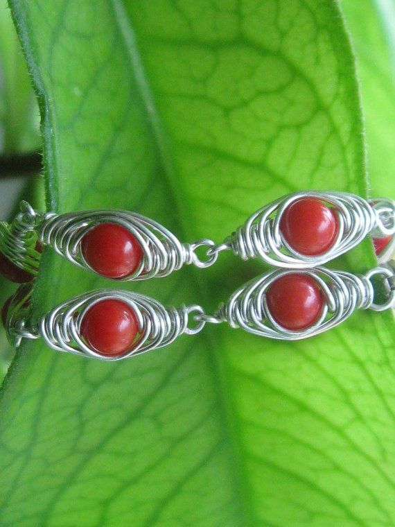 Coral Herringbone Wire Wrapped Sterling Silver Bracelet