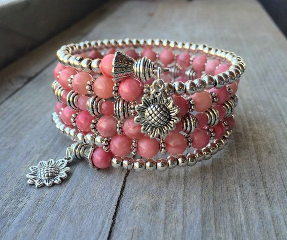 Summer Sunflower Pink Jade Multi Coil Memory Wire Wrap Bracelet