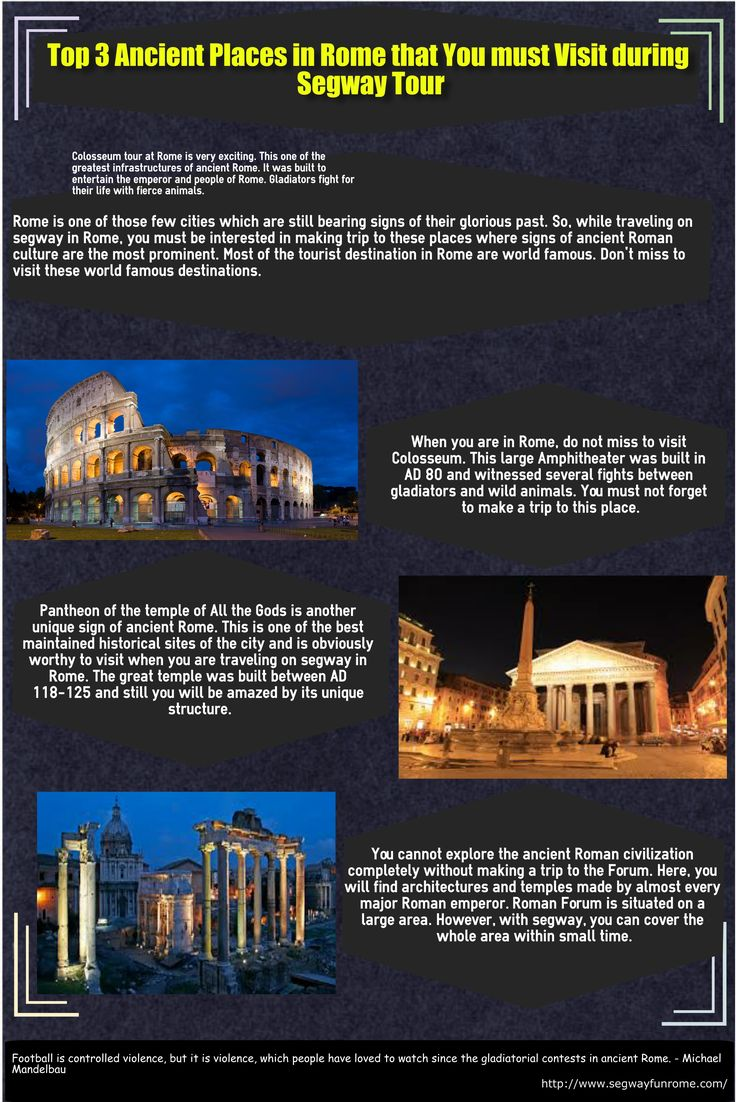 This infographic is about top 3 ancient places in Rome that you must visit during segway tour.