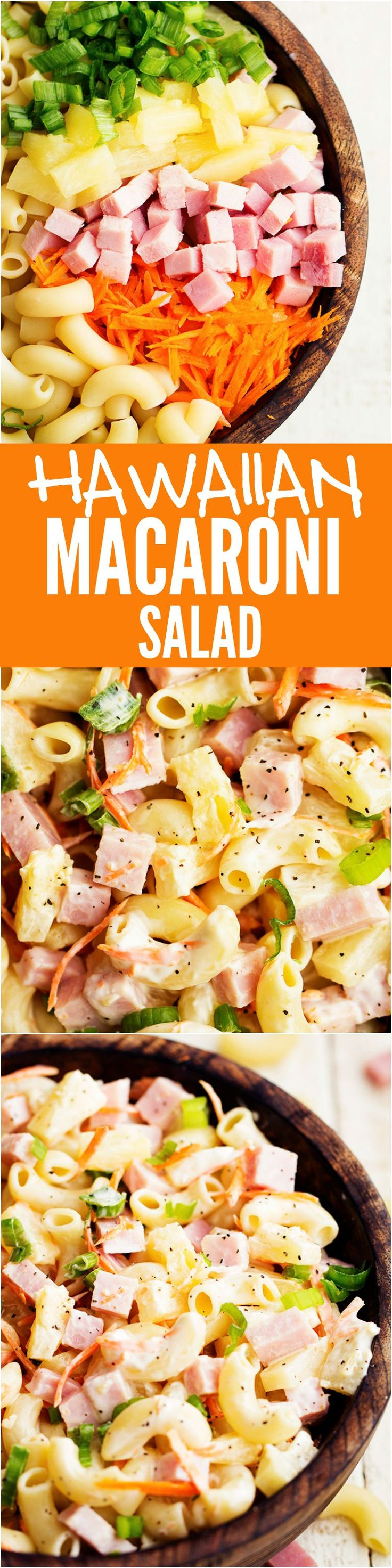 Hawaiian Macaroni Salad - Has ham and pineapple hidden inside and the pineapple dressing is the BEST part!