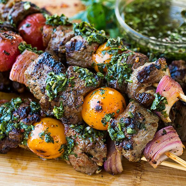Grilled Steak Kebabs, with a Little Something Extra Drizzled on Top