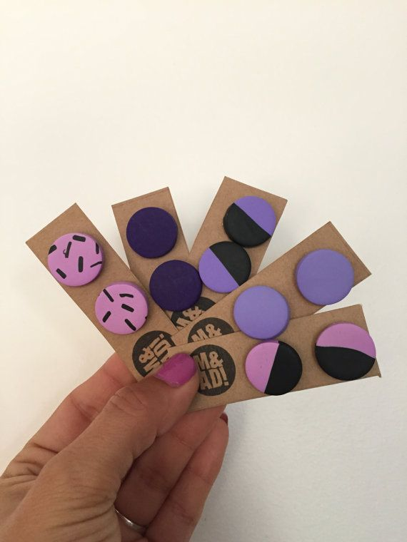 Large Round Polymer Clay Stud Earring Purple Lilac Orchid