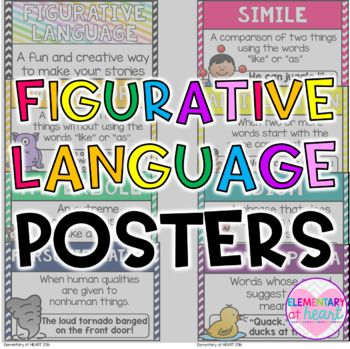 This product includes: A set of 8 colorful posters containing definitions and examples of each figurative language term. Includes: Figurative Language Cover Poster Simile Metaphor Personification Idiom Hyperbole Onomatopoeia Alliteration Hang these up in your