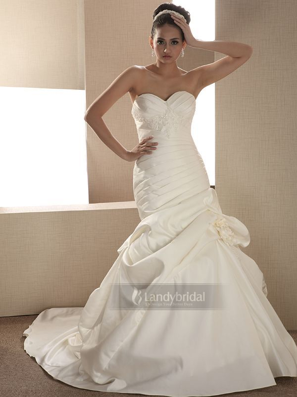ウェディングドレス マーメイド 台湾製サテン 背中は編み上げとファスナーの合わせ H7lb2508