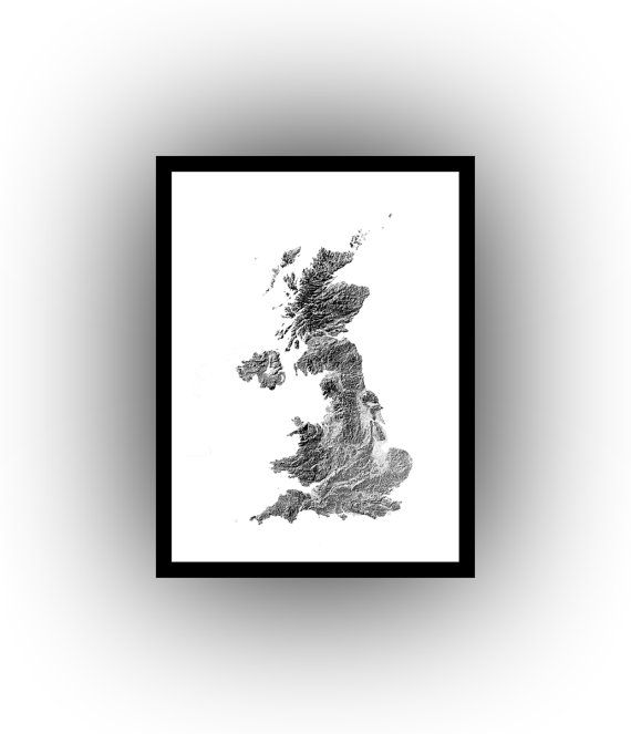 United Kingdom hillshade map  wall art  map art  by MapArtofEarth