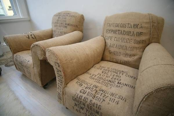 Etsy seller blanaid upholsters overstuffed chairs with coffee sacks, for a great, rough look.