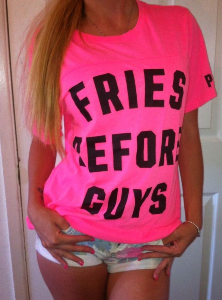 Victoria's Secret Love Pink Fries Before Guys T shirt top NEON PINK  SOLD OUT L #VictoriasSecret #KnitTop #Casual