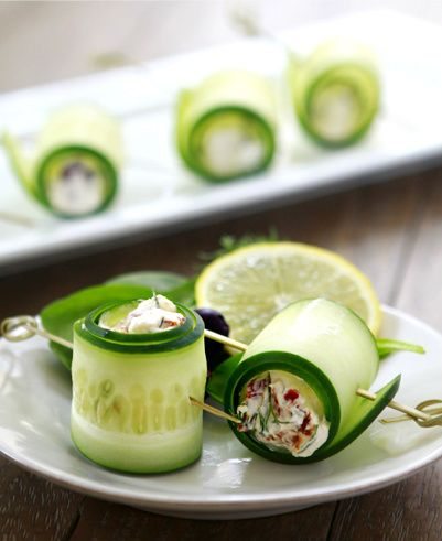 """...these Cucumber Feta Rolls from Good Life Eats are a healthy holiday hors d'oeuvre that sacrifice calories, not taste."""