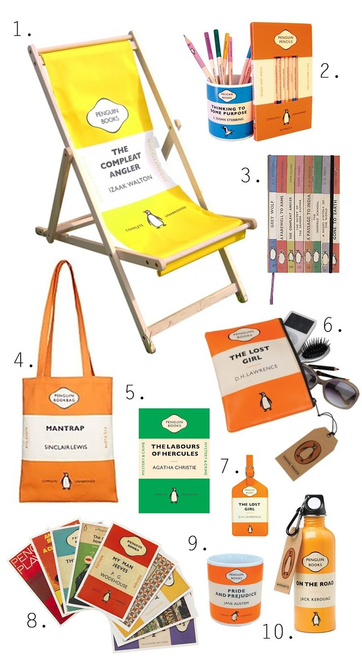 Penguin covers on various merchandise from deckchairs to mugs.