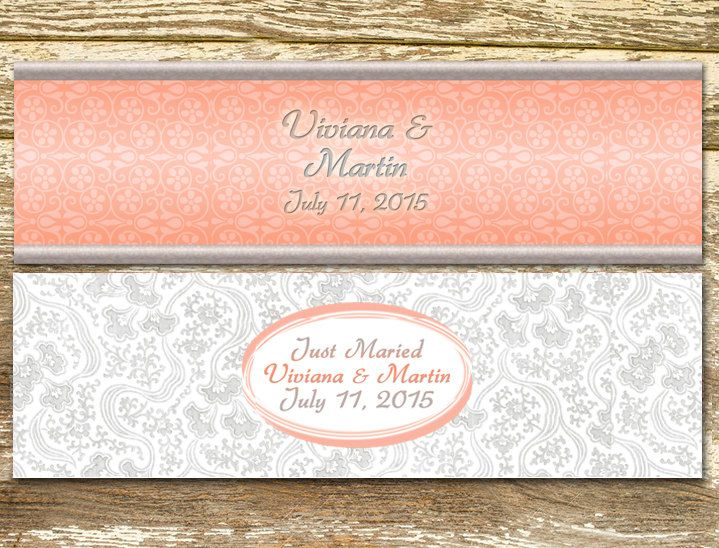 Water Bottle Labels - Wedding Water Bottle Labels, Coral and Gray Wedding, Personalized Water Bottle, Water Bottle Wraps by LittlePrintsOttawa on Etsy