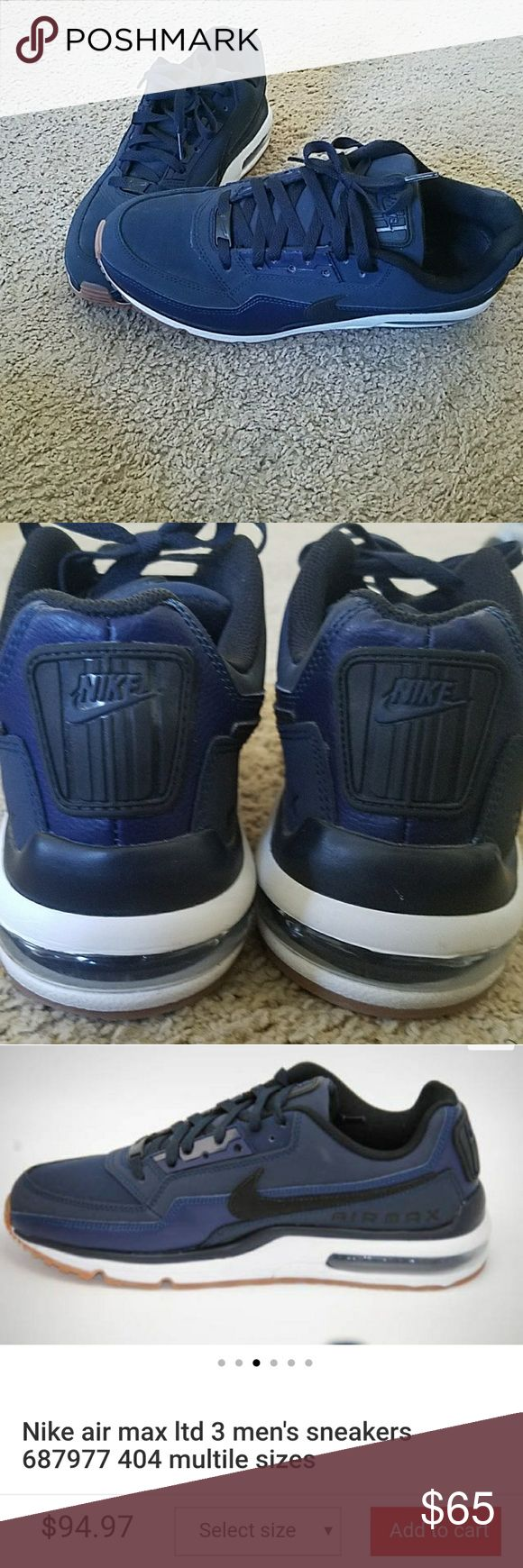 Men's Nike Air Max ltd 3 Midnight Navy Size 9 These Nike Air Max are selling brand new for over  $90.  I have this pair for you in excellent used condition for a reasonable price!  Worn twice! Nike Shoes Sneakers
