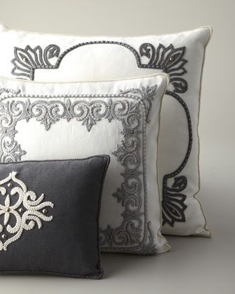 Ivory & Gray Pillows by Ankasa at Horchow. These have that worldly feel .