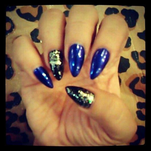 royal blue black glitter stiletto nails | My Nails ...