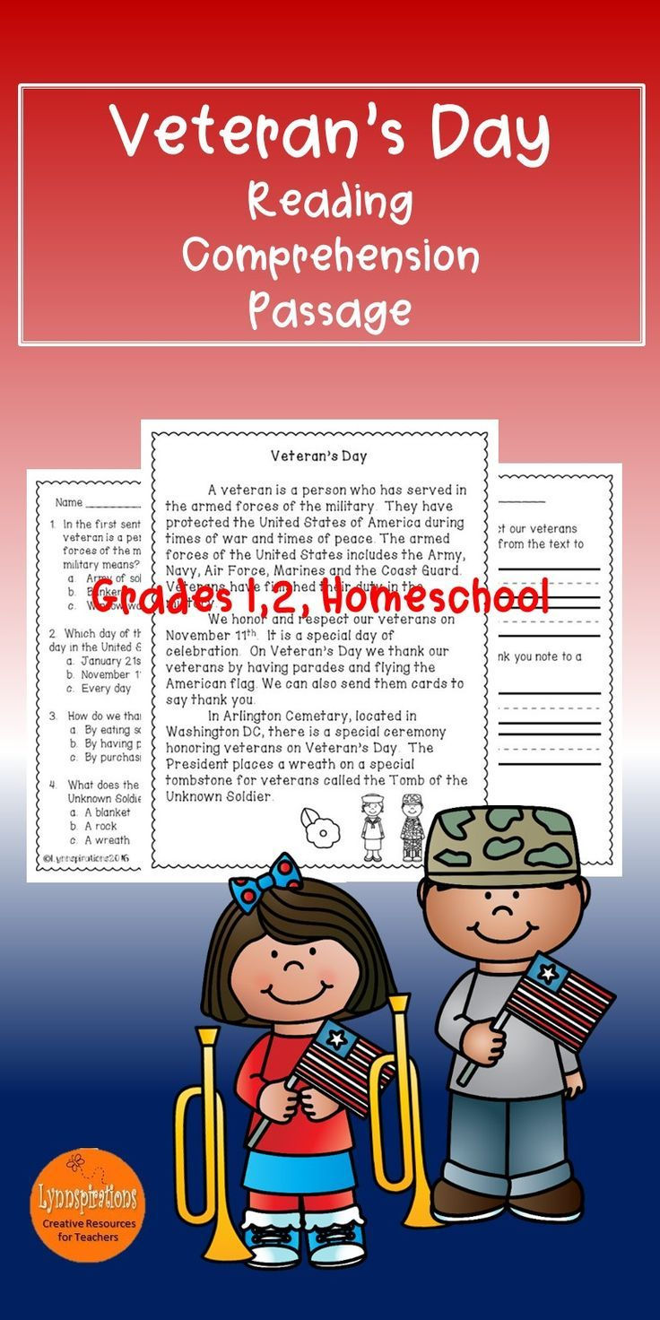 This Engaging Veteran's Day Readingprehension Passage For Grades 12  Can Be Used In