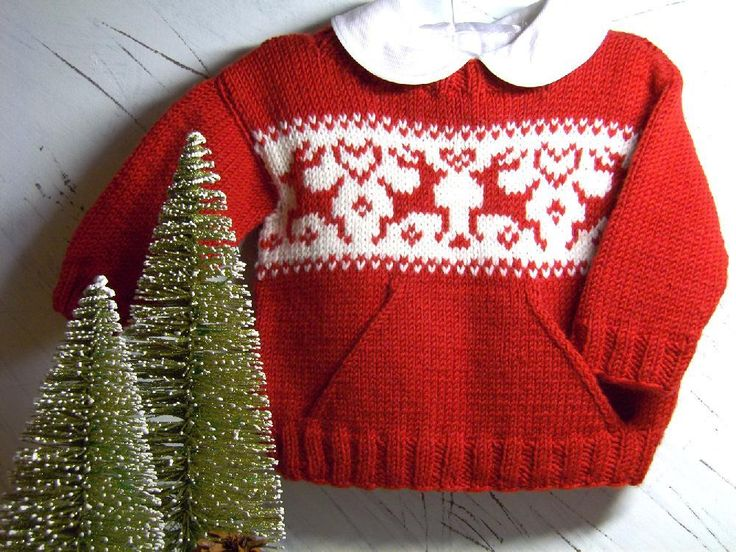 Christmas sweater knitting patterns: children's pocket sweater by OGE Knitwear Designs on LoveKnitting
