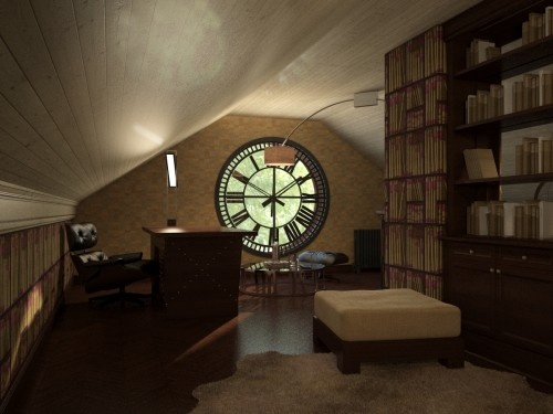 love the idea of attic as a library office space