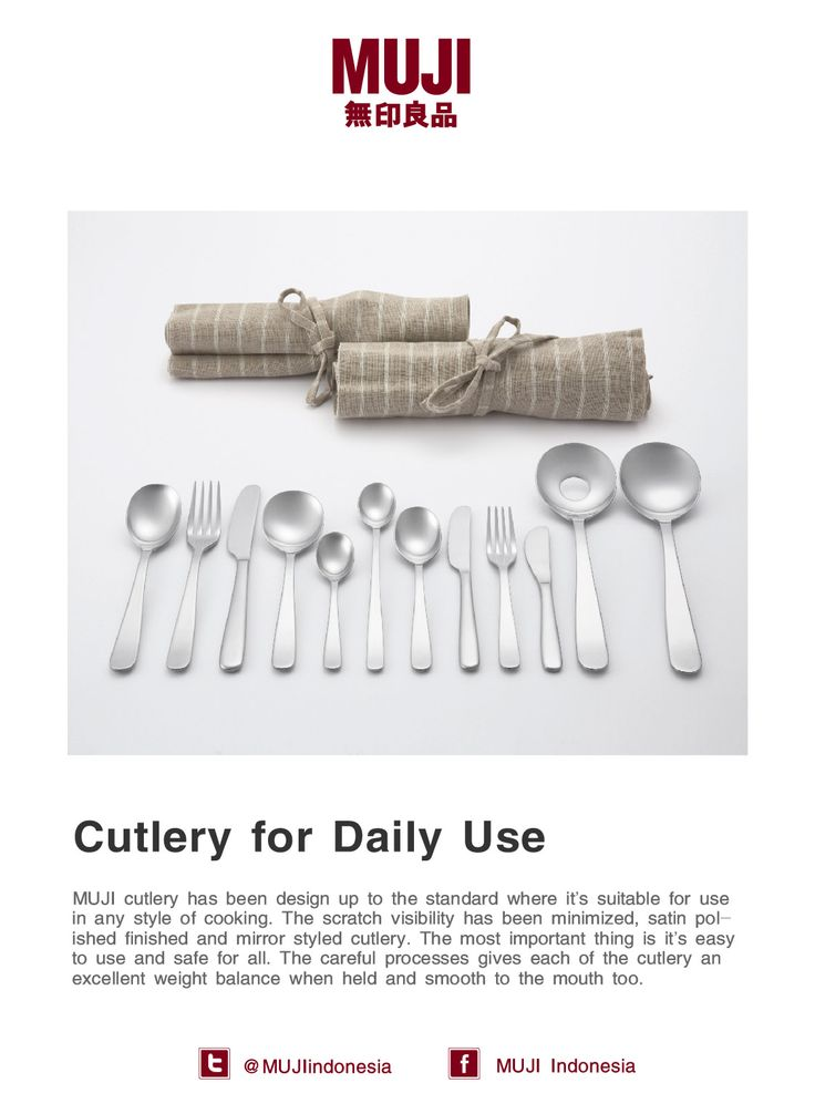 MUJI cutlery has been design up to the standard, excellent weight balance when held and smooth to the mouth too...