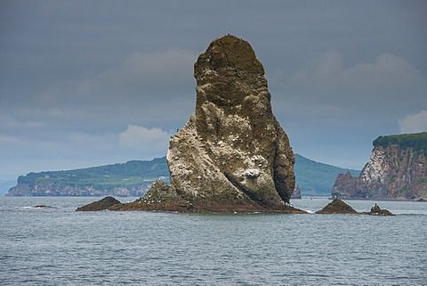 Large monolith in the Avacha bay near Petropavlovsk-Kamchatsky, Kamchatka, Russia, Eurasia