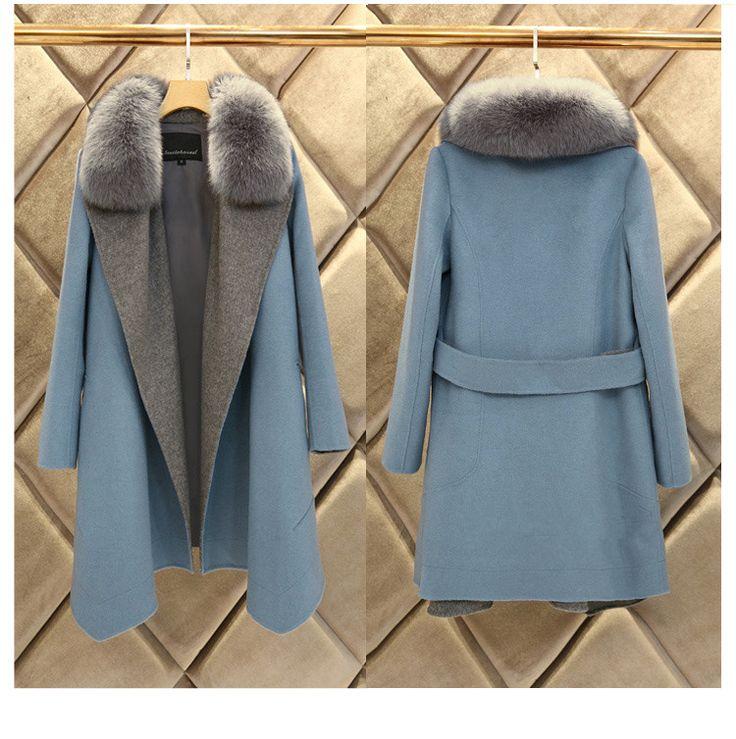 2016 женщин кашемир верхняя одежда пальто шерстяное пальто из искусственного меха синего долго шерстяное пальто для женщин зимнее пальто манто роковой купить на AliExpress