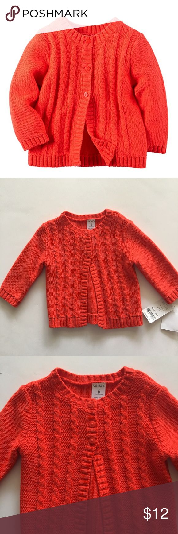 Carter's Red Cardigan Sweater Adorable little sweater with 3 top buttons. NWT Carter's Shirts & Tops Sweaters