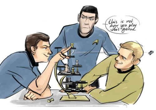 Lol Bones flinging a chess piece at Kirks face