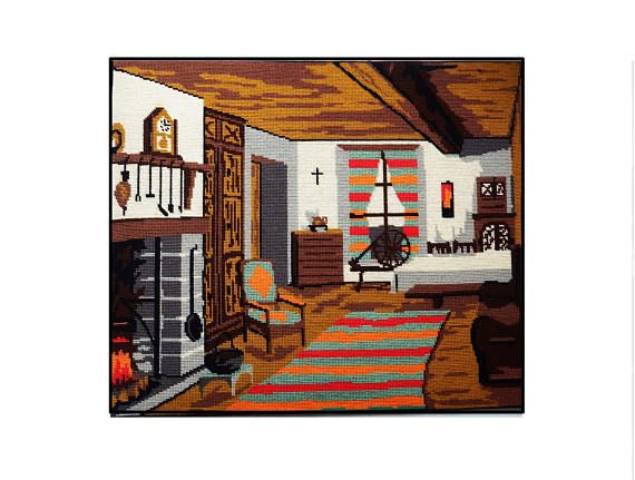 Vintage Completed Needlepoint/ Pioneer Canadian Home/ Large Interior Colonial Scene/ Quebec Farmhouse Tapestry