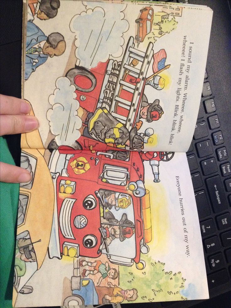 This is an example of rule of thirds. The main object and characters are in the middle of the page. It attracts the readers attention to the middle of the two pages. Little Squirt The Fire Engine. Retrieved from https://www.amazon.com/Little-Squirt-Fire-Engine-Golden/dp/0307101444