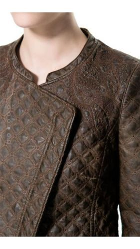 STUNNING ZARA BROWN EMBROIDERED FAUX LEATHER JACKET SIZE EXTRA SMALL *BLOGGERS*