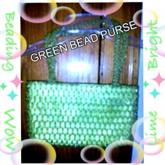 Lime green beaded purse A great lime green beaded purse great for a complete lime green outfit or added to make a great summery pop of color! It's beautiful the beading is very substantial and stands out! Was 15$ Bags