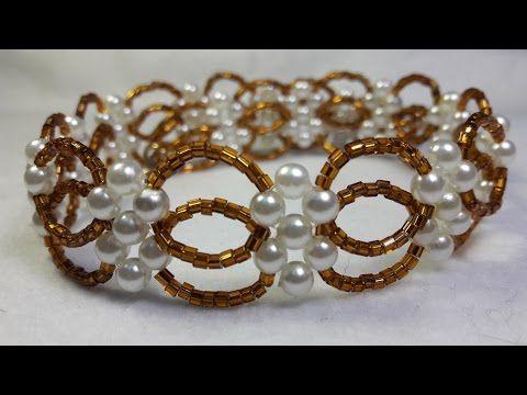 Hermosa pulsera de Perlas y Mostacillas...Clase #25!!! - YouTube