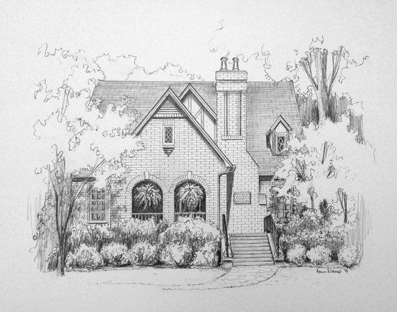 Pencil Pen And Ink Watercolor Sketch Of Your House From A Photo Great Gift