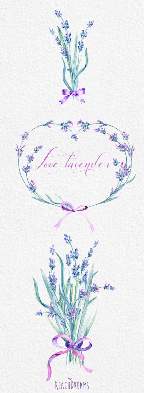 Lavender Watercolour Bouquets & Wreath Clipart. por ReachDreams