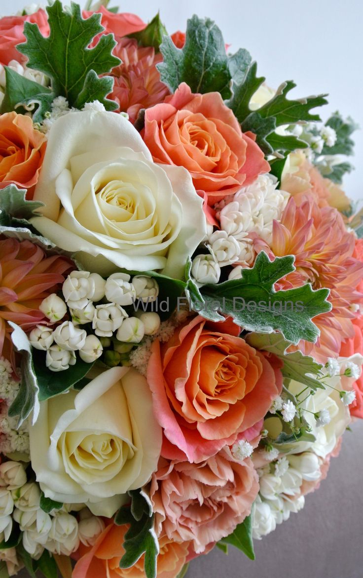 Coral and peach brides bouquet, Miss Piggy Rose, Dahlia, Gyp, Bouvardia, Carnations, Dusty miller.