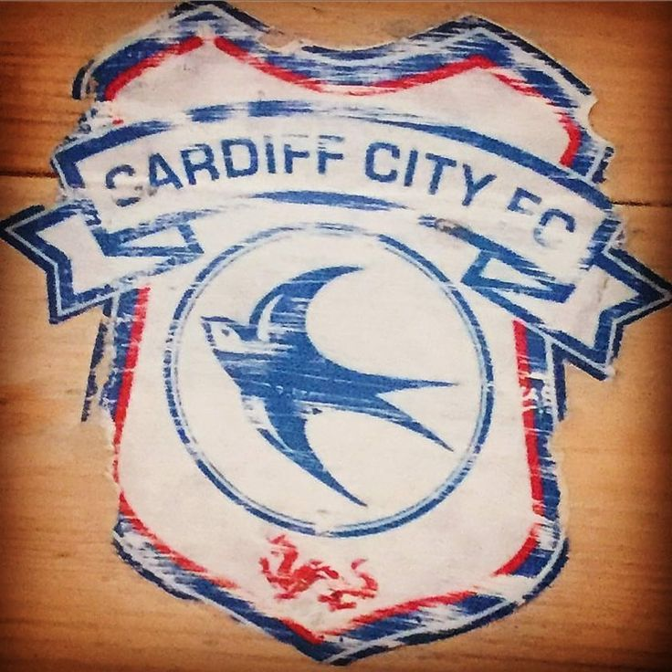 Cardiff city football club logo rustic wooden board