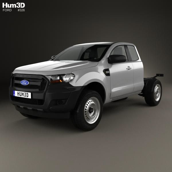 ford ranger super cab chassis xl 2015 3d model from hum3dcom - Ford Ranger 2015 Extended Cab