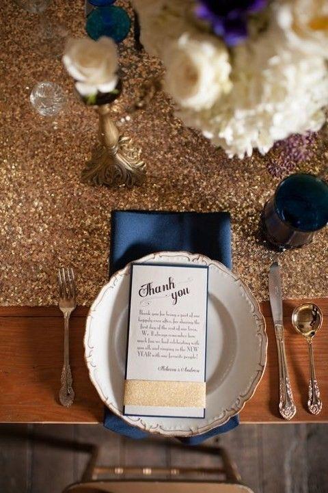 55 Elegant Navy And Gold Wedding Ideas   HappyWedd.com, blue and gold weddings, glam and glitter weddings, table settings, centerpieces, wedding color schemes #navyandgoldweddings