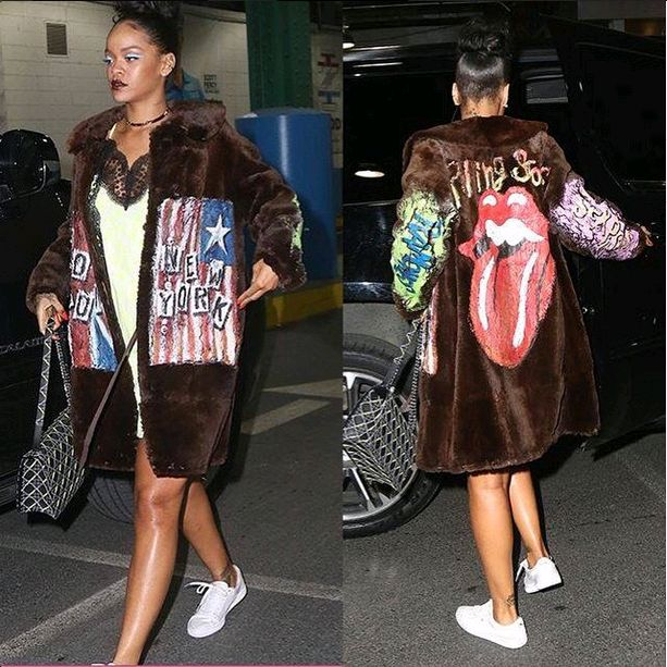 Lingerie and fur. Would you rock this look? If anyone can, it's definitely RiRi !  #lingerie #fur #rihanna #badgalriri #alaskan fur #justforfun #fashion