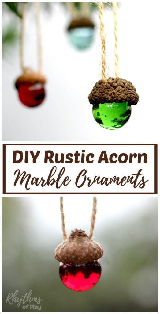DIY Craft: These homemade DIY rustic acorn marble ornaments make a wonderful Chrismas craft and decoration. They look beautiful on the Christmas tree. Handmade nature crafts like this also make a great gift idea for kids to make!