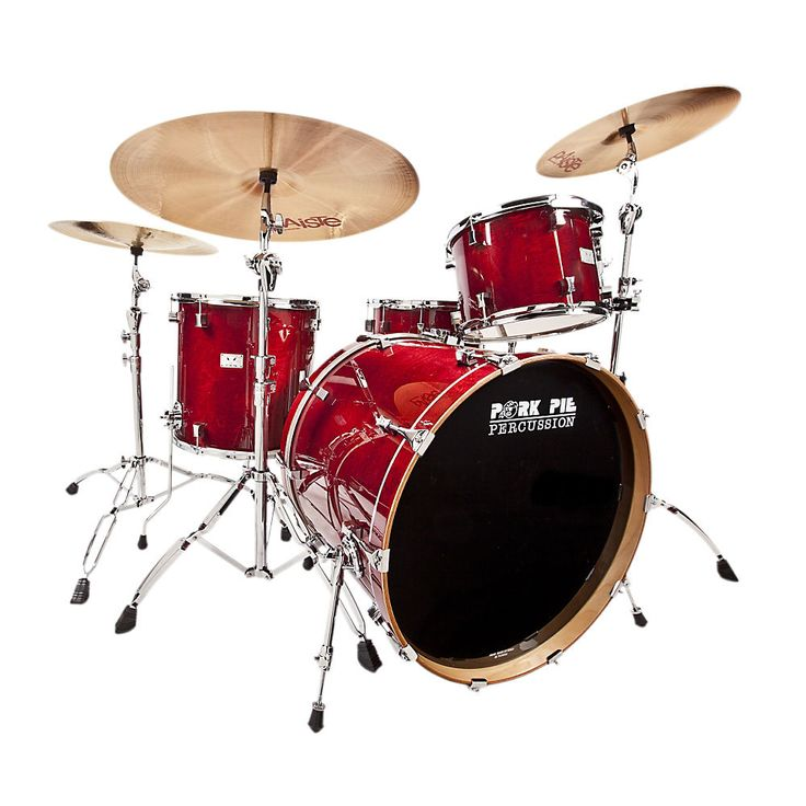 """Pork Pie Little Squealer 4-Piece Shell Pack with 24"""" Bass Drum Black Cherry Lacq in Musical Instruments & Gear, Percussion, Drums 