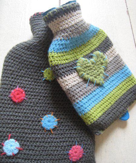 Lovely crochet hot water bottle covers.