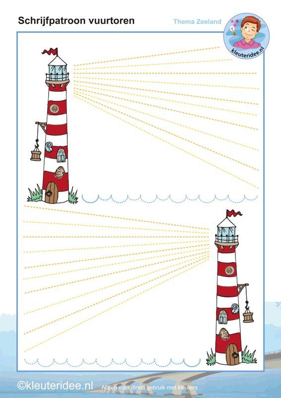 Schrijfpatroon vuurtoren kleuters, thema Zeeland, kleuteridee, Kindergarten writing pattern, lighthouse, beach theme, free printable
