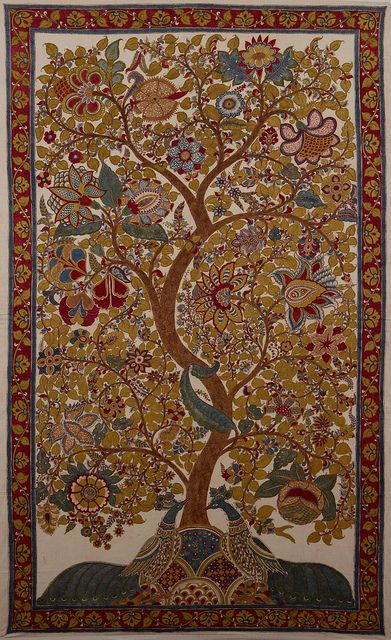 dwaraka kalamkari tree of life | Tree of Life,Price: $ 1500, Medium: Mordants & natural dyes on cotton ...