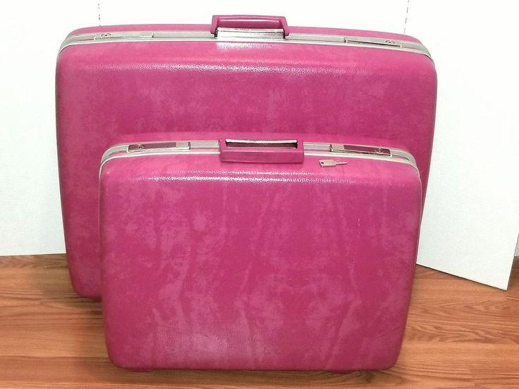 Vintage Royal Traveller Medalist Pink 2 Pc large Luggage Suitcase Set With Keys #RoyalTraveller