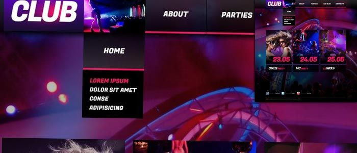 This fashionable theme transmits the club atmosphere with its acid color and muted light. This theme allows you to put the events info in the illustrated content area.