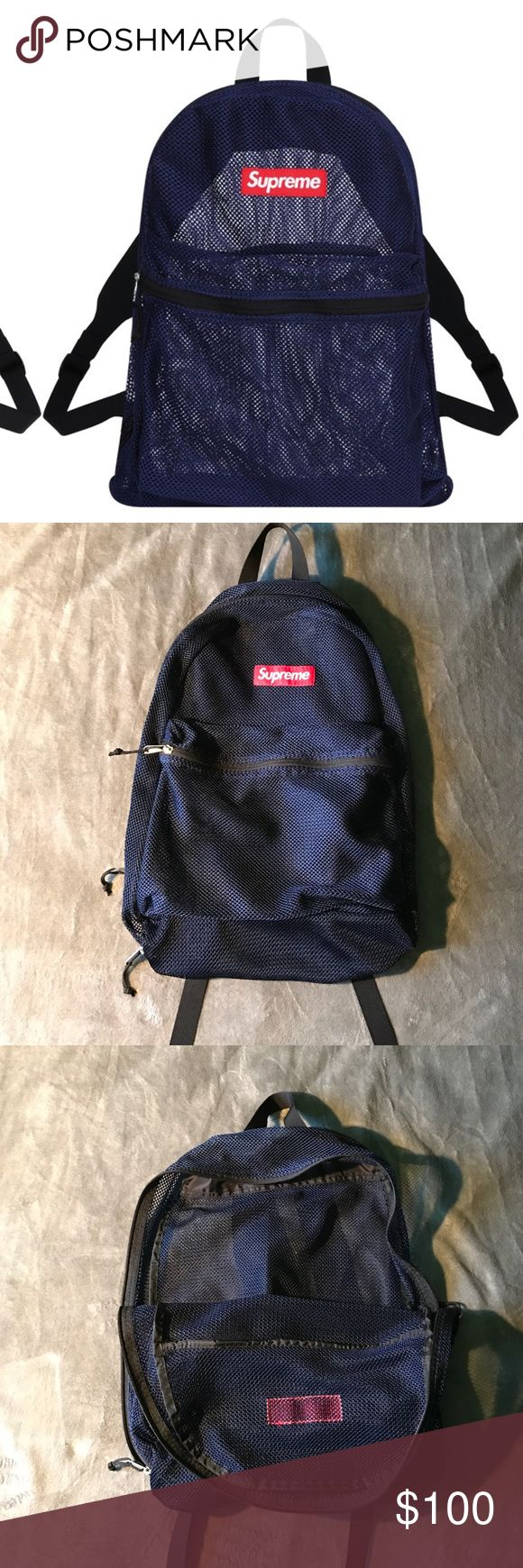 Supreme Mesh Backpack Authentic Supreme backpack from the 2016 collection, still good as new, hardly worn, good for traveling and packing light. Supreme Bags Backpacks